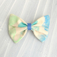 Small Hand-printed fabric Hair Bow Barrette, Light lime green, teal mint and sky blue for women and girls.