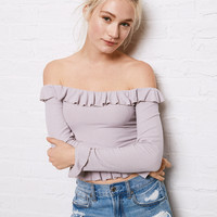 Don't Ask Why Ruffle Long Sleeve T-Shirt, Lively Lilac