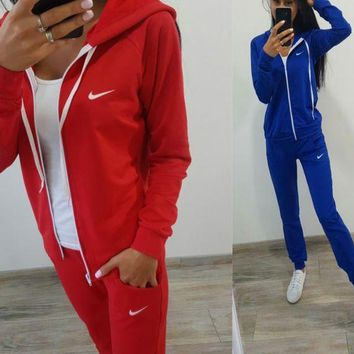 DCCK Nike Fashion Letter Long Sleeve Shirt Sweater Pants Sweatpants Set Two-Piece Sportswear