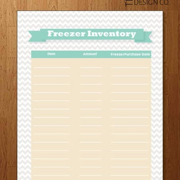 Freezer Inventory - Instant Download - Kitchen Organizer - Healthy Meals - Cook at Home