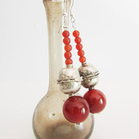 Carnelian Beaded Earrings, Dangle Gemstones Red Women Jewelry