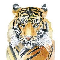 50% off - Tiger Poster Print - 22 x 28 - Watercolor Painting - Giclee Reproduction