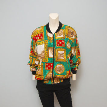 Vintage 1990's/1980's Windbreaker Bomber Jacket Shiny Green Red and Gold Pattern Italy Italian Cityscape Buildings and Statues