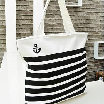 Black stripe anchor Women Tote Bag Shoulder Bag Handbag Canvas Purse