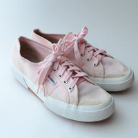 Vintage SUPERGA pale pink 90s canvas sneakers // 2750 superga