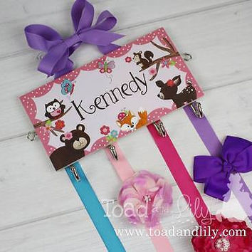 Deluxe HAIR BOW HOLDER Personalized Forest Animal Bow Holder Organizer DHB001