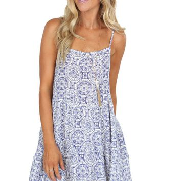 Tiered Lace Up Dress Blue