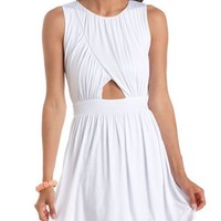 Ruched Cutout Skater Dress: Charlotte Russe