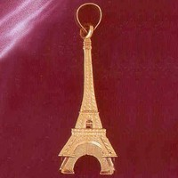 Gold charms- 14K GOLD EIFFEL TOWER CHARM/PENDANT 3D # 4916