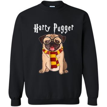 Funny Harry Pugger Magic Wizard Pug  Pug Dog Gift Printed Crewneck Pullover Sweatshirt