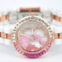 PenBangs —  Swarovski Rhinestone Flower Watch