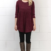 Two Tone Hacci Brushed Babydoll Tunic {Burgundy}