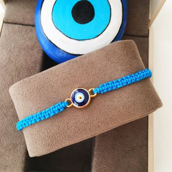FREE SHIPPING - Evil eye bracelet - turquoise string bracelet - blue evil eye jewelry - adjustable bracelet - evil eye charm - Turkish nazar