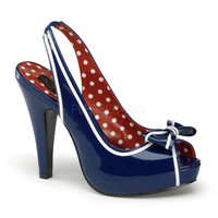 Navy & White Patent Leather Slingback Bettie Heels