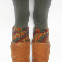 Textured Crochet Boot Cuffs in Autumn, ready to ship.