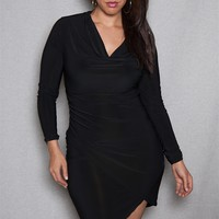 Symphony Draped Collar Plus-Size Mini Dress With High-Low Tulip Hem  - Black