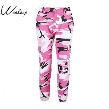 Weekeep Women 2017 High Waist Demin Camouflage Pants Fashion Jean Trousers Pantalon Mujer Pencil Military Camo Pencil Pants
