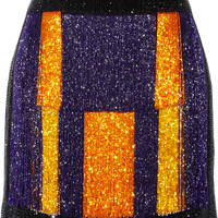 Balmain - Color-block embellished velvet mini skirt