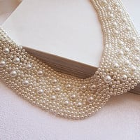 Ivory Pearl embroidery Peter Pan Collar Necklace