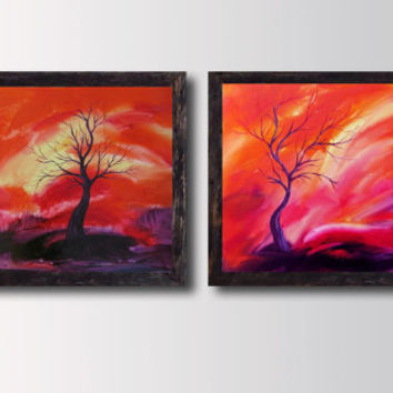 2 piece Orange Red & Pink Painting, Prints Diptih Abstract Landscape, ROLLED Canvas, Home and Wall decor, Contemporary Modern art