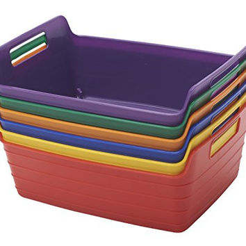 ECR4Kids Bendi-Bin with Handles, Small, Assorted Colors, 6-Pack