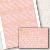 Bring a book cards baby shower pink and gold hearts baby shower invites girl baby shower bring a book cards  instant download digital diy