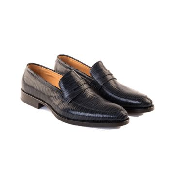 Giovanni - Penny Loafer Shoe In Embossed Midnight blue Calf Leather