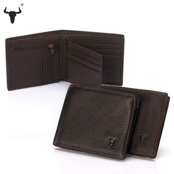 FAMOUSFAMILY New Men Wallet Coin Bag Cowhide Leather Vintage Two Zip Around Wallets 2 Zipperd Pocktes Coin Purse Credit Card