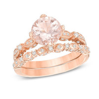 Precious Bride™ 8.0mm Morganite and 1/3 CT. T.W. Diamond Vintage-Style Bridal Set in 14K Rose Gold - View All Rings - Zales