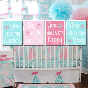 You Are My Sunshine Wall Art Girl Nursery PIXIE Pink Blue Aqua Artwork Cute Quote Song Set of 4 Prints Baby Crib Decor