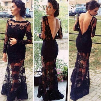 Backless Long Sleeve Long Lace Dress