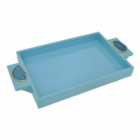 27771 Wooden Tray With Agate Embellishment, Blue- Benzara