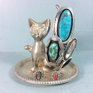 vintage metal cat ring holder - ring dish