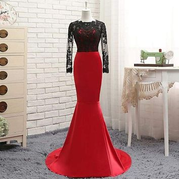 Red Satin With Black Lace Long Sleeve Evening Dress