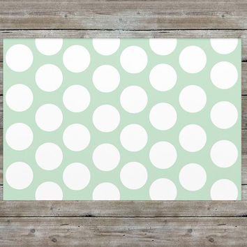 Mint Polka Dot Accent Rug
