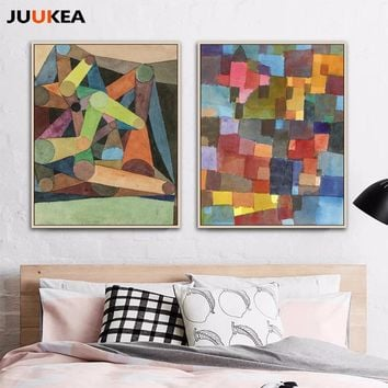 The Color Piece Coupling Geometric Abstract Arts by Paul Klee, Canvas Print Painting Poster Wall Picture For Living Room Home