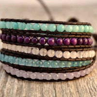 Chan Luu inspired bracelet. Blue, pink and purple beaded wrap bracelet