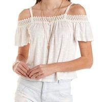 Ivory Crochet-Trim Cold Shoulder Top by Charlotte Russe