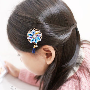 Unique flower hair clip&comb. Japanese kanzashi hair pin