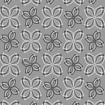 GRAY WITH WHITE AND BLACK FLOWERS FLOOR DROP - 4x5 - LCCF124 - LAST CALL