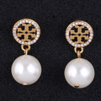 Tory Burch Women Fashion New Pearl Diamond Hollow Metal Long Earring Accessories Golden