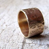 Textured Gold Band - Wide Gold Ring