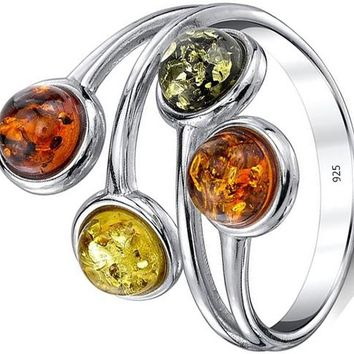 Sterling Silver 925 Baltic Amber Ring with Multi Color Cabochon