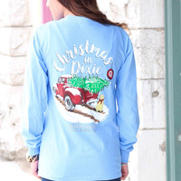 Christmas in Dixie Long Sleeve Tee {Chambray Blue}