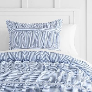 Painterly Stripe Pucker Up Comforter + Sham