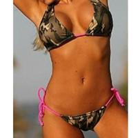 Camouflage Lacing Triangle Bikini Set