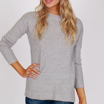 Vertical Detailed Sweater Silver