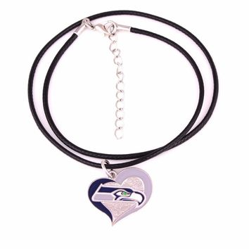 Fans collection single-sided enamel Swirl Heart Seattle Seahawks Football Team logo with Leather chain necklace Drop shipping