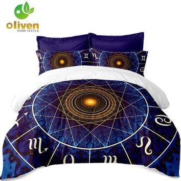 Constellations Print Bedding Set Galaxy Duvet Cover Set Geometric Pattern Quilt Cover Pillowcase King Queen Soft bedclothes A40