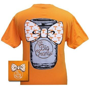 SALE Tennessee Vols Volunteers Mason Jar Big Bow Big Orange Girlie Bright T Shirt